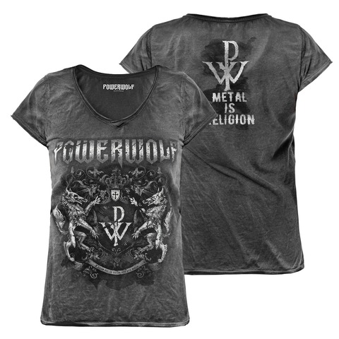 √Metal Is Religion - Crest von Powerwolf - Girlie Shirt jetzt im Powerwolf Shop