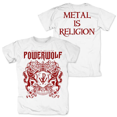 Red Crest White Tee von Powerwolf - T-Shirt Long jetzt im Powerwolf Shop