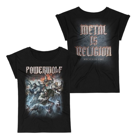√Best Of The Blessed Art von Powerwolf - Girlie Shirt mit Rollup Ärmeln jetzt im Powerwolf Shop
