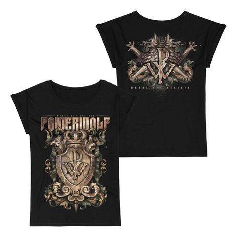 √Metal Est Religio Crest von Powerwolf - Girlie Shirt with Roll Up jetzt im Powerwolf Shop
